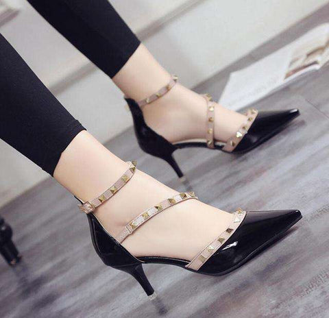 Pointed Toe high Heels buckle Studded Sandals