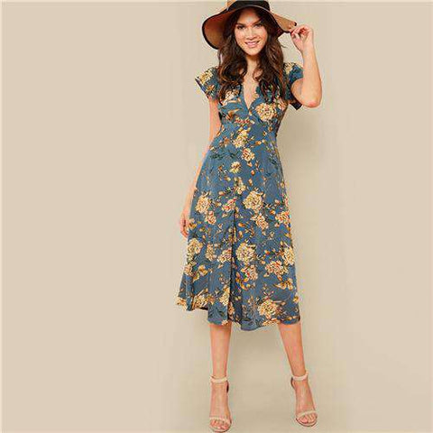 Bohemian Floral Print Knot Neck Dress