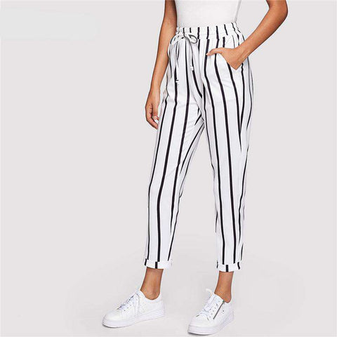 High Waist Tapered Black and White Casual Women Trousers