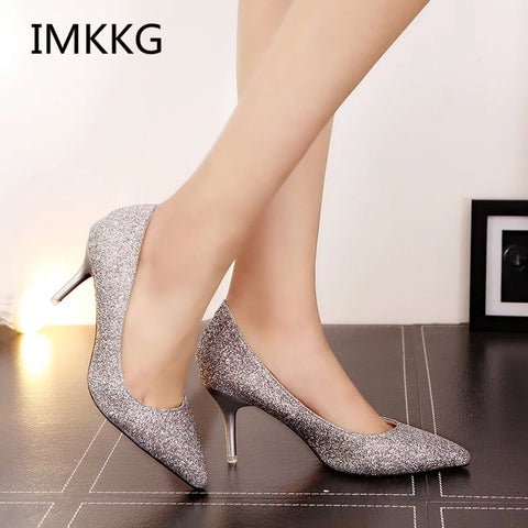 Women Silver Pointed Toe Sequined Glitter Pumps