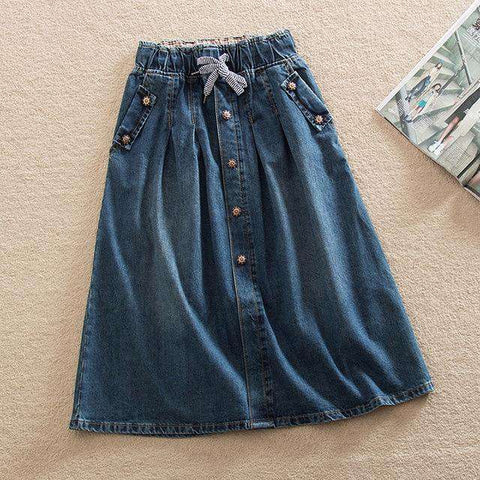 Elastic Waist Lace Up Denim Loose Skirts Women