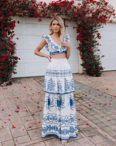 Two Piece Blue White Print Slash Neck Short Sleeve Dress