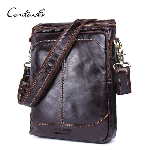Men Crossbody Genuine Leather Shoulder Travel Bag