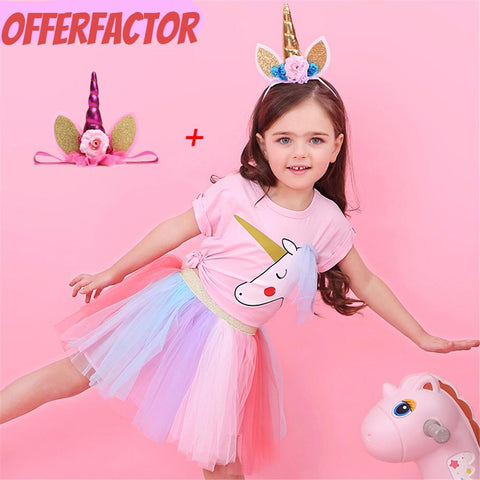 Tutu Pink Kids Cute Unicorn Girl Pony Suit