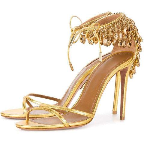 High Heel Lace-up String Beaded Wedding Gold Metallic Shoes