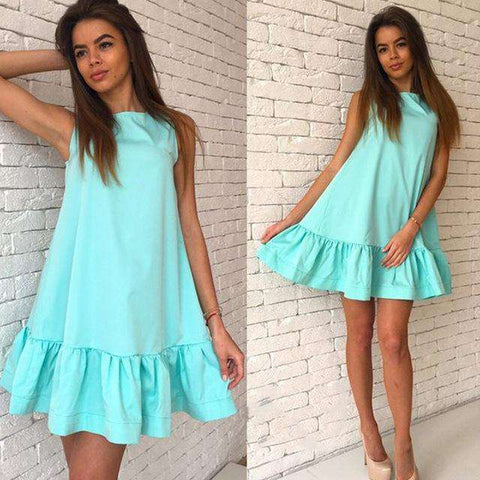 Chiffon Ruffle Sleeveless Mini Sexy Dress