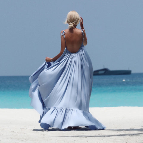 Solid Long Backless Party Beach Dress