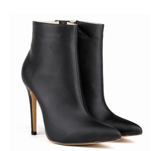 Women Pu Leather Pointed Toe Ankle Boots