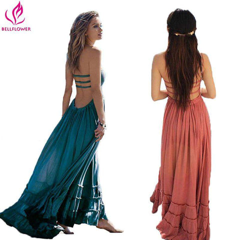Bohemian Sleeveless BellFlower Backless Dress