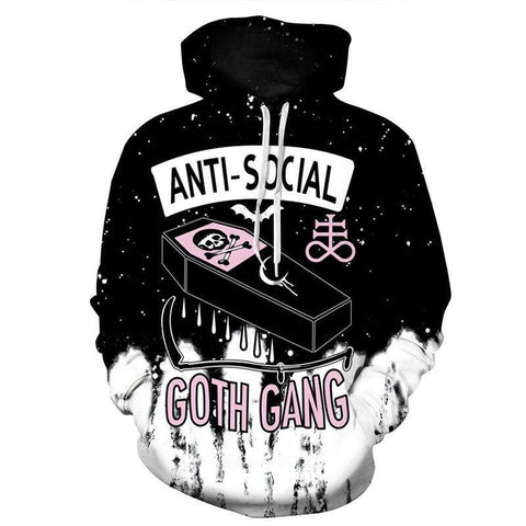 Men Anti Social 3D Skull Print Casual Hoodie