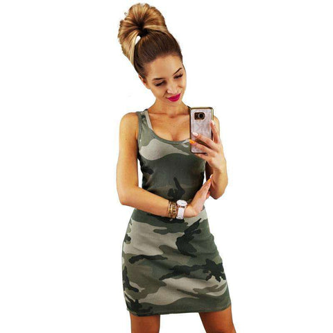 Army Green Camouflage Tank Dress