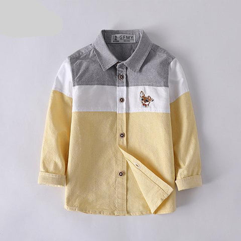 Turn-down Collar European Style Full Sleeve Casual Kids Shirt