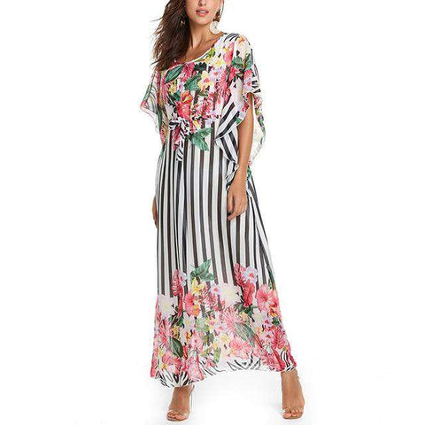 Printed Bodycon Batwing Sleeve Maxi Dress