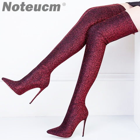 Women Glitter Stiletto Over the Knee Thigh High Heels Boot
