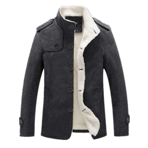 Men Wool Blend Fleece Lined Thick Fashion Winter Jacket