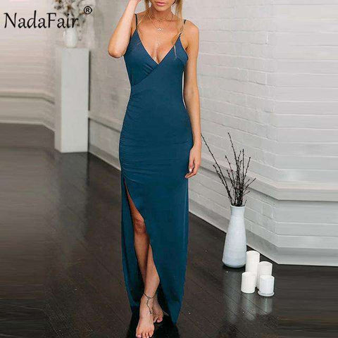 Deep V Neck Backless Long Sexy Party Dress