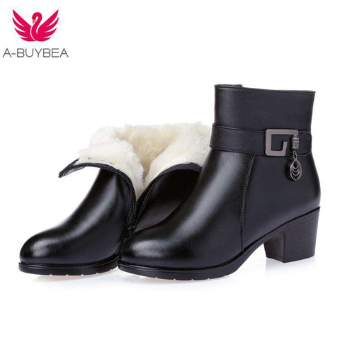 Women's thick wool fur genuine leather ankle boots