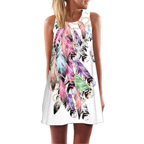 BHflutter Print Cute A line Mini Dress