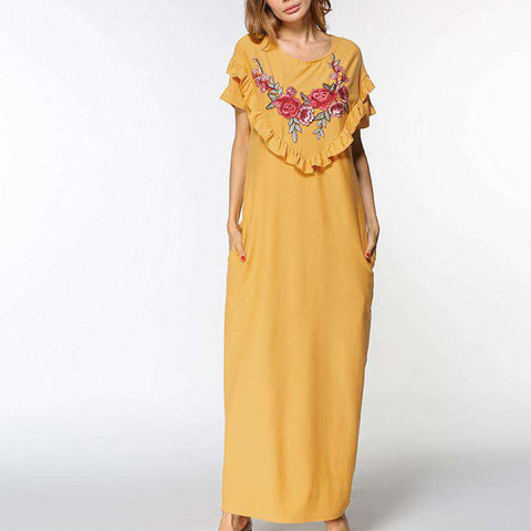Elegant Casual Loose Embroidered Dress