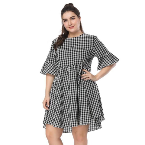 Vintage O-Neck Half Sleeve Plaid Chekered Casual Short Dress