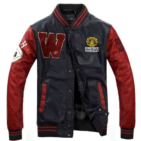 PU Leather Baseball College Leather Jackets Men