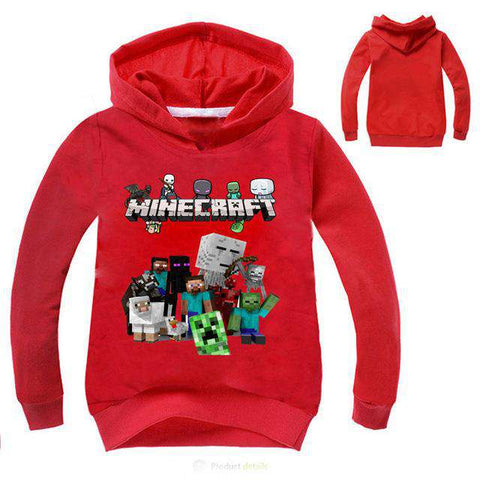 Pullover Cotton Sweatshirt Minecraft Pattern Hoodie for Kids