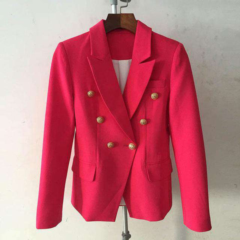 Double Breasted Lion Buttons  Blazer