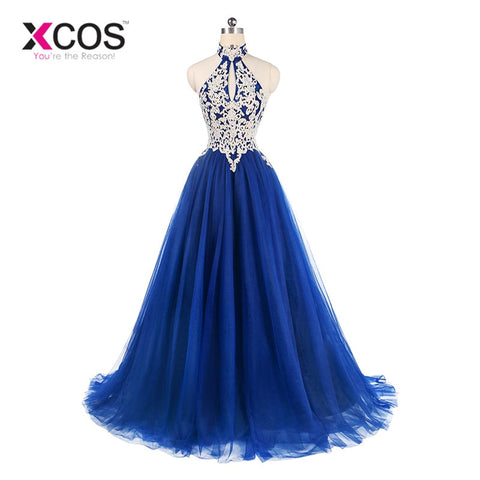 Women Elegant A Line Lace Halter Prom Long Dress
