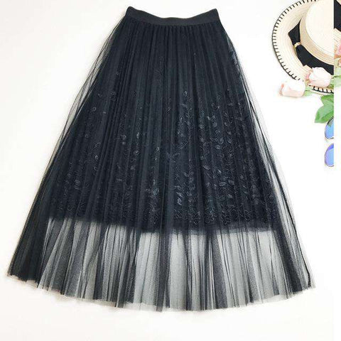 Ankle Length Embroidery Women Skirt