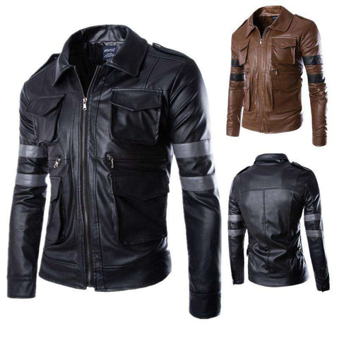 New Arrival Men Long Sleeve PU Leather Jacket Coat