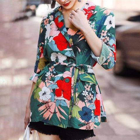 Floral Print Long Sleeve Lace Blazer