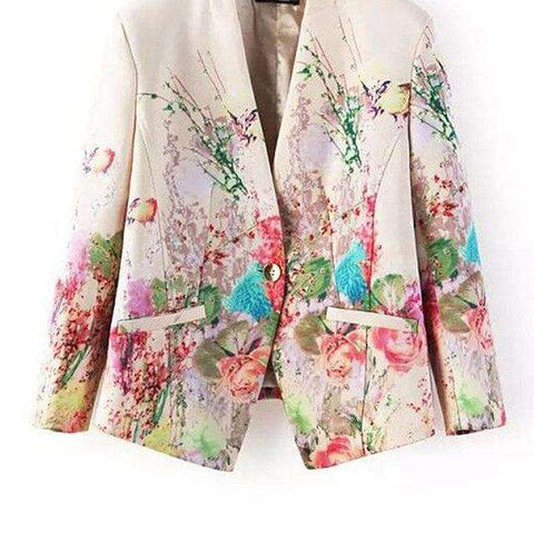 Flower Print Elegant Single Breasted Blazer