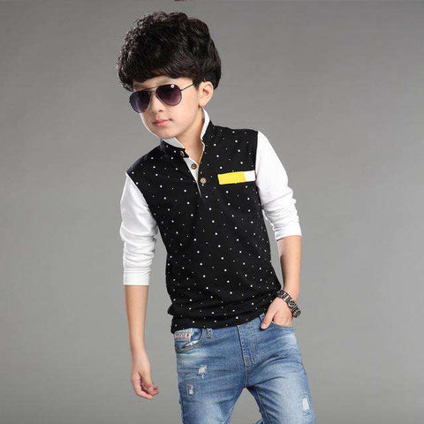 Casual Shirt Dot Long Sleeve Kids Polo Shirts