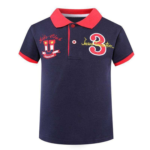 Cotton Kid Polo Short Sleeve Turn-down Collar T shirt