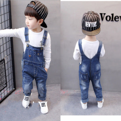 Strap Solid Cotton Kids Jumpsuit Casual Boys/Girls