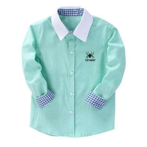 Printed Long Sleeve Collar Shirt Casual Kids