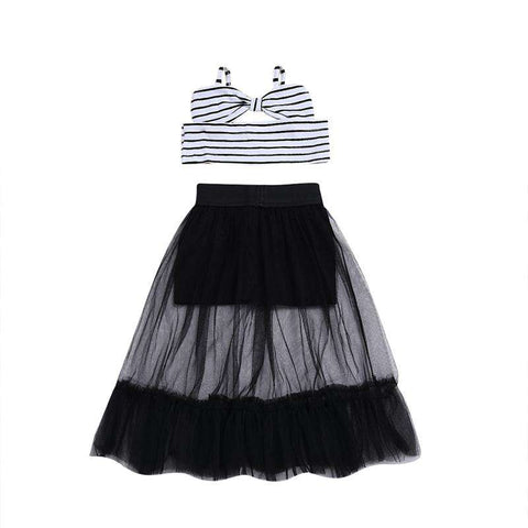 Off Shoulder Striped Crop Tops Kids Short Skirts