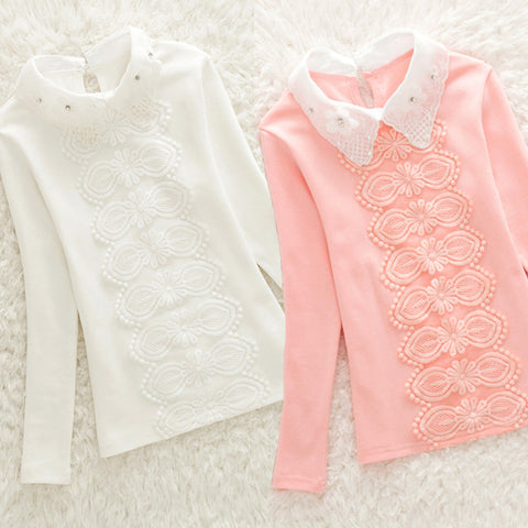 Turn-Down Collar Lace Flower Girls kid shirts