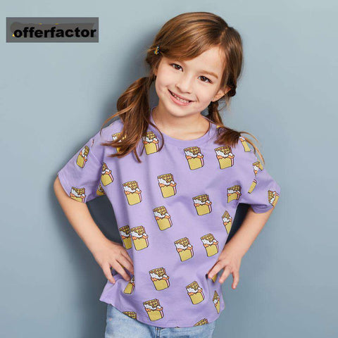printed short sleeve tops kids t-shirts for girl