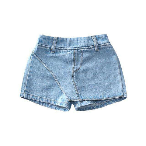 Elastic Waist Kids Solid Jeans Denim Skirt