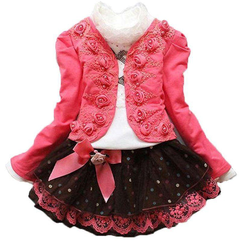 Girl Suit Coat Dot lace skirt Costume Kid
