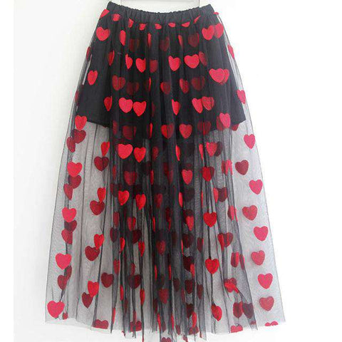 Embroidery Heart Pattern Kids Skirt For Girls