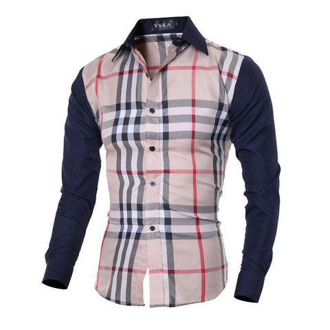 Men Hit Color Plaid Long Sleeve Shirts Spring And Autumn