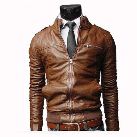 men leather Motorcycle Casual Winter Coats jackett