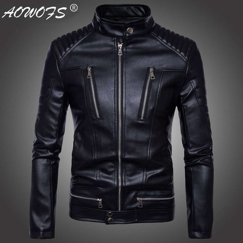 men motorcycle zipper leather synthetic jacket
