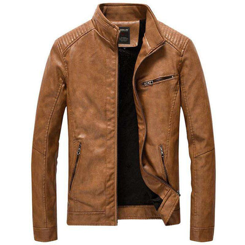 Men Casual Slim Fit Stand Collar PU Faux Leather Jacket