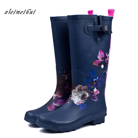 Women Pvc Waterproof High Heel Water Tall Rain Boots