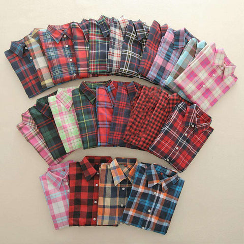 Long Sleeve Flannel Plaid Women Cotton Shirts