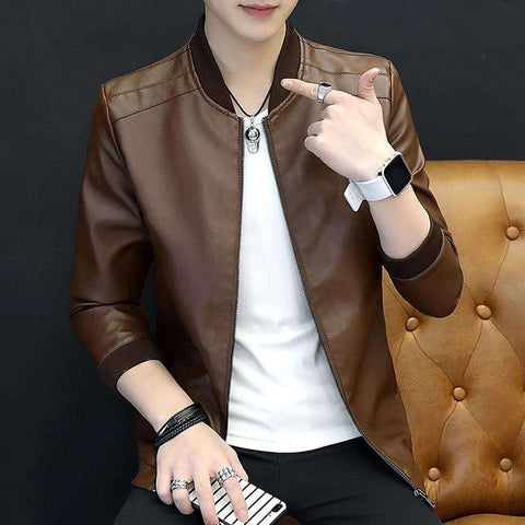 Men Leather Cultivate Leisure PU Leather Jacket
