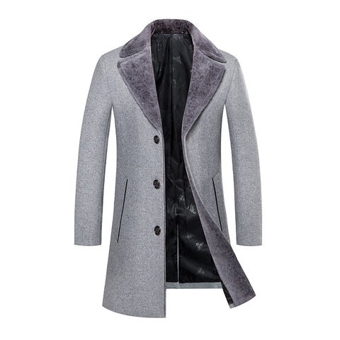 Winter Woolen Medium-Long Men Slim Fit Casual Jackets